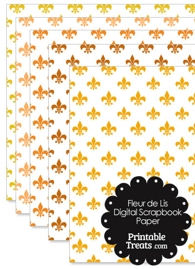 Orange Fleur de Lis Digital Scrapbook Paper from PrintableTreats.com