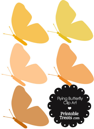Orange Flying Butterfly Clipart from PrintableTreats.com