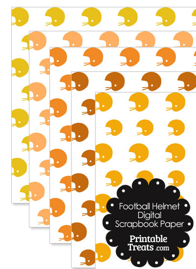 Orange Football Helmet Digital Scrapbook Paper from PrintableTreats.com