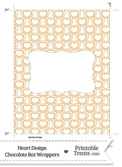 Orange Heart Design Chocolate Bar Wrappers from PrintableTreats.com
