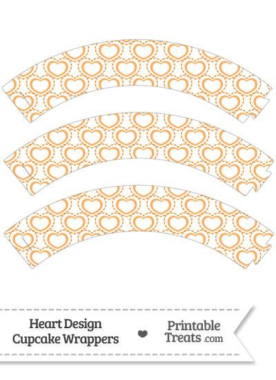 Orange Heart Design Cupcake Wrappers from PrintableTreats.com