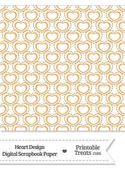 Orange Heart Design Digital Scrapbook Paper from PrintableTreats.com