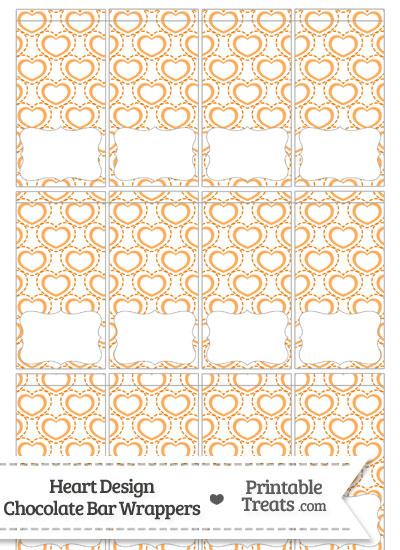 Orange Heart Design Mini Chocolate Bar Wrappers from PrintableTreats.com