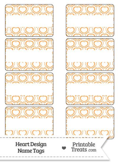Orange Heart Design Name Tags from PrintableTreats.com