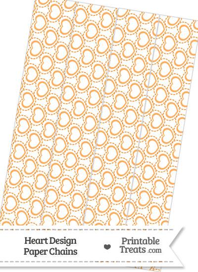 Orange Heart Design Paper Chains from PrintableTreats.com