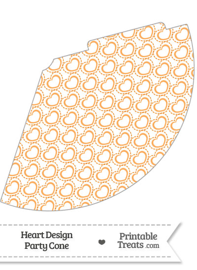 Orange Heart Design Party Cone from PrintableTreats.com