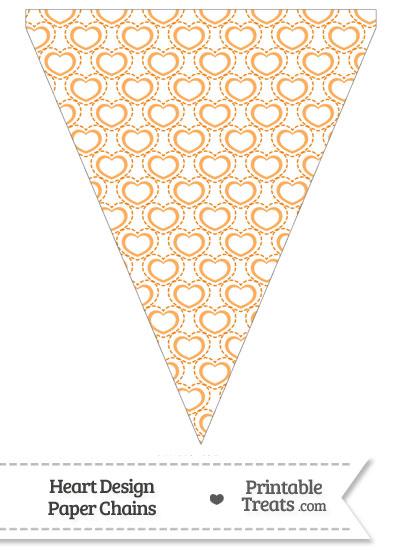 Orange Heart Design Pennant Banner Flag from PrintableTreats.com