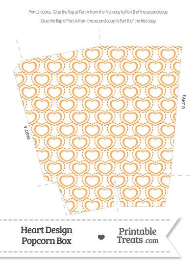 Orange Heart Design Popcorn Box from PrintableTreats.com