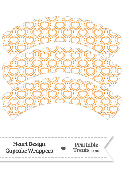 Orange Heart Design Scalloped Cupcake Wrappers from PrintableTreats.com