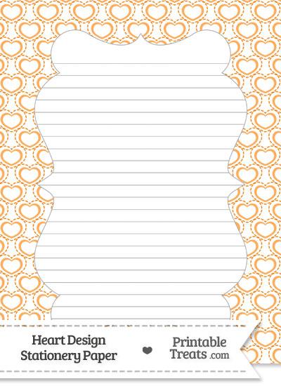 Orange Heart Design Stationery Paper from PrintableTreats.com