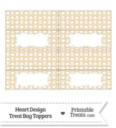 Orange Heart Design Treat Bag Toppers from PrintableTreats.com