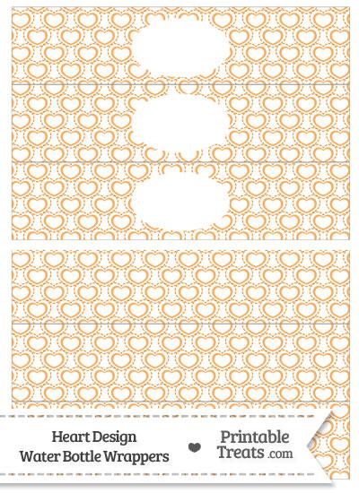 Orange Heart Design Water Bottle Wrappers from PrintableTreats.com