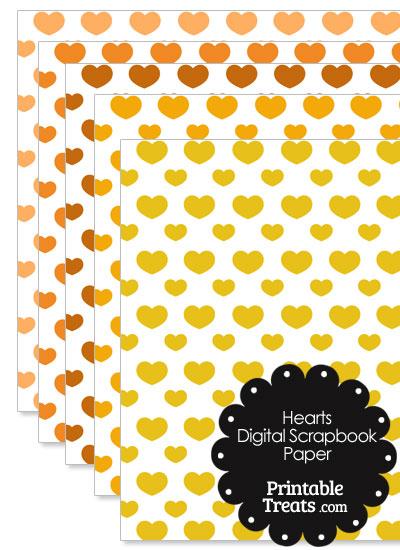 Orange Hearts Digital Scrapbook Paper from PrintableTreats.com