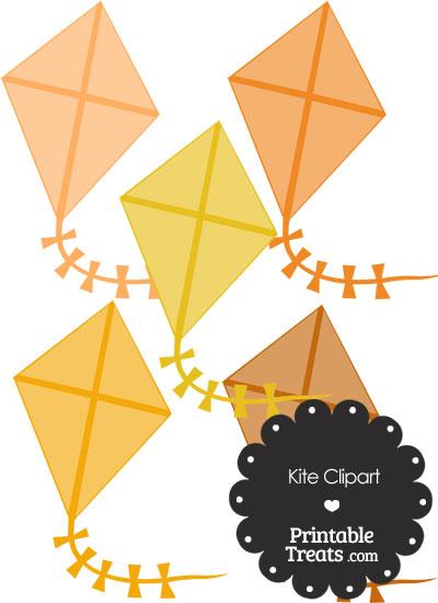 Orange Kite Clipart from PrintableTreats.com