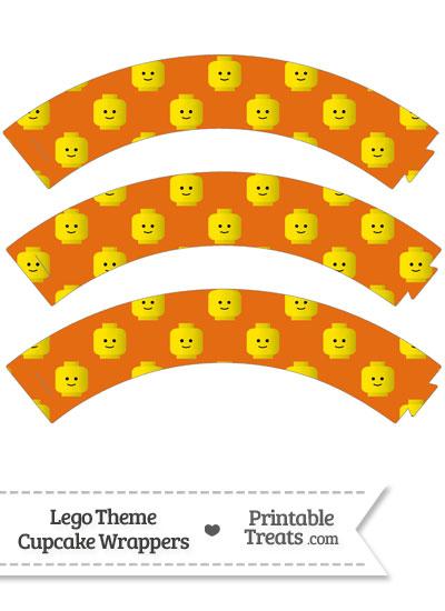 Orange Lego Theme Cupcake Wrappers from PrintableTreats.com