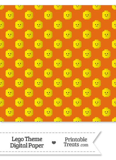 Orange Lego Theme Digital Scrapbook Paper from PrintableTreats.com