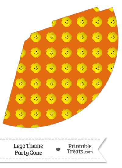 Orange Lego Theme Party Cone from PrintableTreats.com