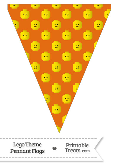 Orange Lego Theme Pennant Banner Flag from PrintableTreats.com