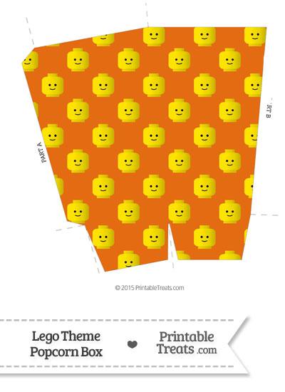 Orange Lego Theme Popcorn Box from PrintableTreats.com