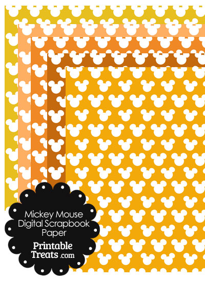 Orange Mickey Mouse Head Digital Paper from PrintableTreats.com