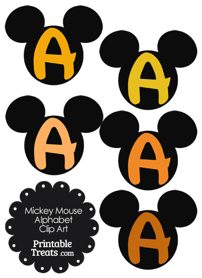 Orange Mickey Mouse Head Letter A Clipart from PrintableTreats.com