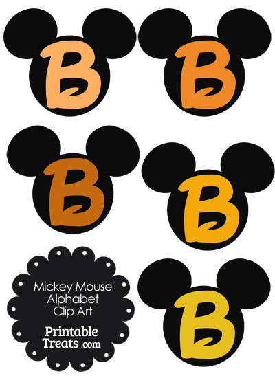 Orange Mickey Mouse Head Letter B Clipart from PrintableTreats.com