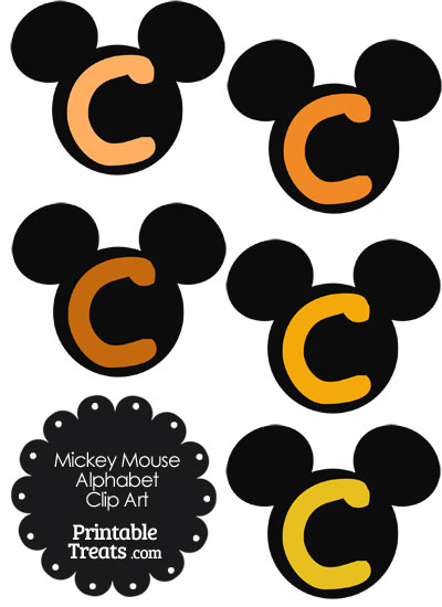 Orange Mickey Mouse Head Letter C Clipart from PrintableTreats.com