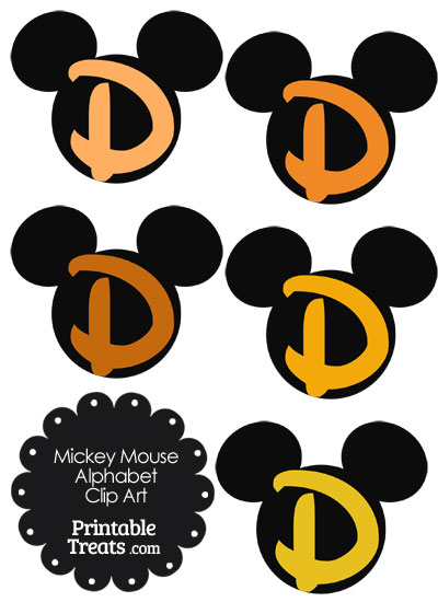 Orange Mickey Mouse Head Letter D Clipart from PrintableTreats.com