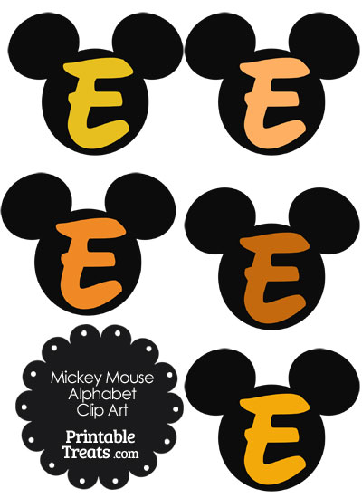 Orange Mickey Mouse Head Letter E Clipart from PrintableTreats.com
