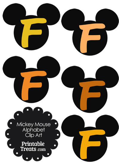 Orange Mickey Mouse Head Letter F Clipart from PrintableTreats.com