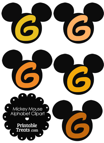 Orange Mickey Mouse Head Letter G Clipart from PrintableTreats.com