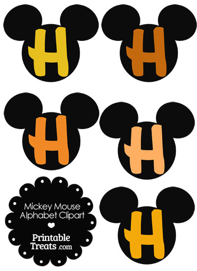 Orange Mickey Mouse Head Letter H Clipart from PrintableTreats.com