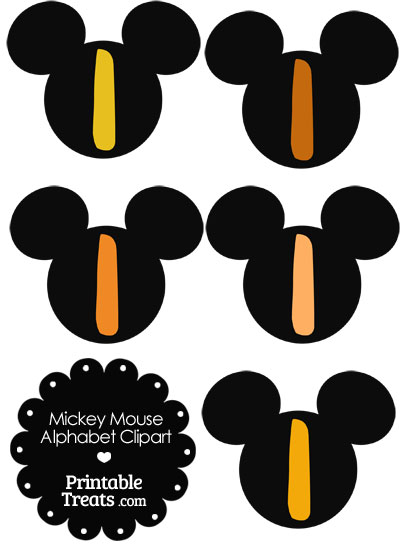Orange Mickey Mouse Head Letter I Clipart from PrintableTreats.com