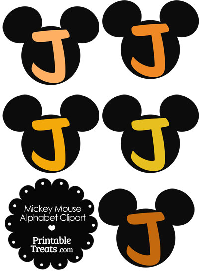 Orange Mickey Mouse Head Letter J Clipart from PrintableTreats.com