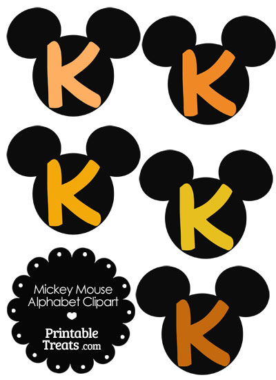 Orange Mickey Mouse Head Letter K Clipart from PrintableTreats.com