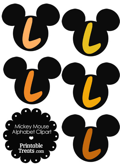 Orange Mickey Mouse Head Letter L Clipart from PrintableTreats.com
