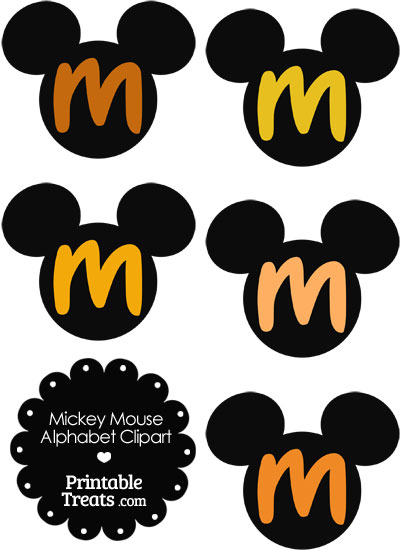 Orange Mickey Mouse Head Letter M Clipart from PrintableTreats.com