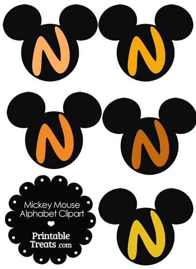 Orange Mickey Mouse Head Letter N Clipart from PrintableTreats.com