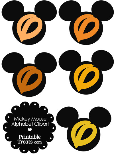 Orange Mickey Mouse Head Letter O Clipart from PrintableTreats.com