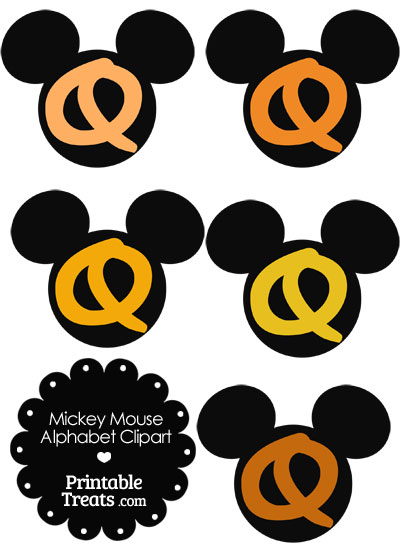 Orange Mickey Mouse Head Letter Q Clipart from PrintableTreats.com