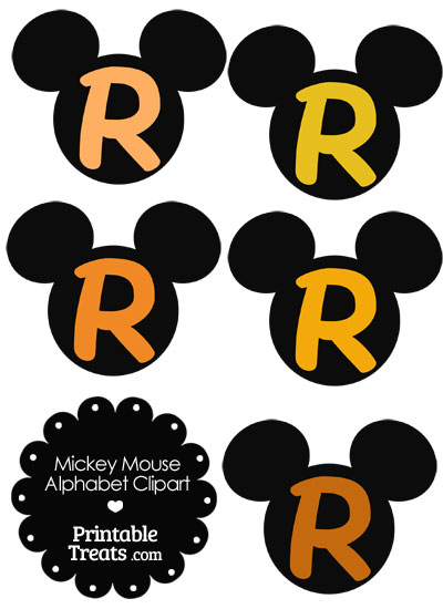 Orange Mickey Mouse Head Letter R Clipart from PrintableTreats.com