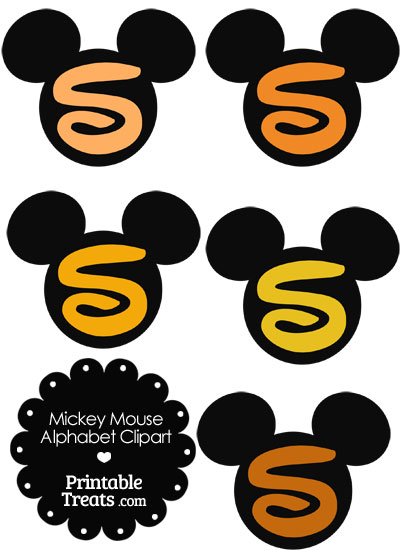 Orange Mickey Mouse Head Letter S Clipart from PrintableTreats.com