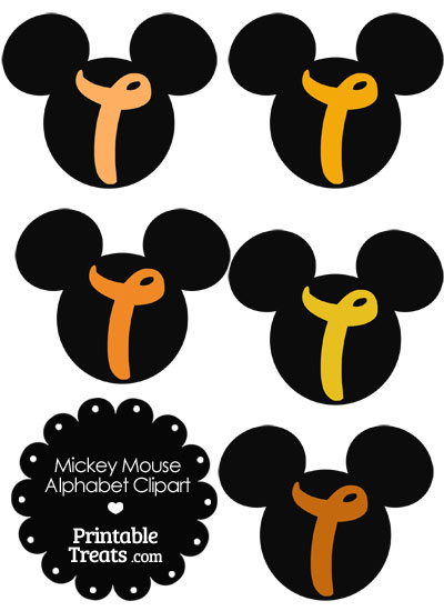 Orange Mickey Mouse Head Letter T Clipart from PrintableTreats.com