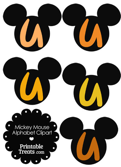Orange Mickey Mouse Head Letter U Clipart from PrintableTreats.com
