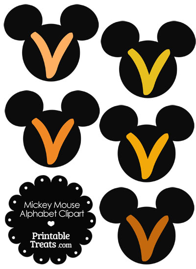 Orange Mickey Mouse Head Letter V Clipart from PrintableTreats.com