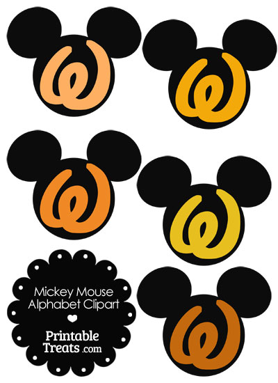 Orange Mickey Mouse Head Letter W Clipart from PrintableTreats.com
