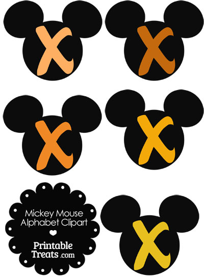Orange Mickey Mouse Head Letter X Clipart from PrintableTreats.com