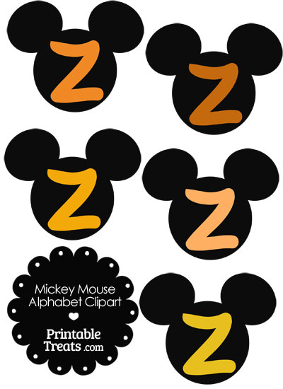 Orange Mickey Mouse Head Letter Z Clipart from PrintableTreats.com