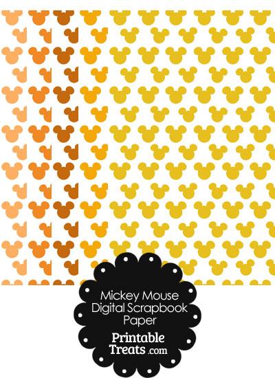 Orange Mickey Mouse Head Scrapbook Paper from PrintableTreats.com
