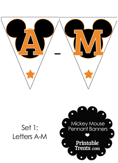 Orange Mickey Mouse Pennant Banner Letters A-M from PrintableTreats.com